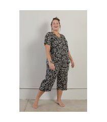 pijama pantacourt flores plus size preto-52/54