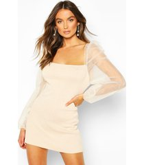 knitted organza puff sleeve dress, stone