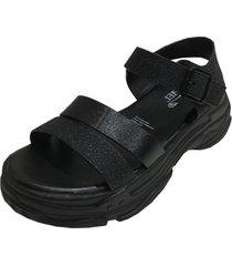 sandalia plataforma negro todopiel