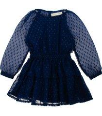 vestido manga larga azul  offcorss