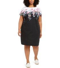 karen scott plus size floral-print knit dress, created for macy's