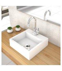 cuba de apoio para banheiro compace veneza q395w quadrada branca