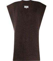 maison margiela v-neck knitted poncho - brown