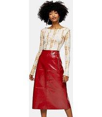 cherry red vinyl seam midi skirt - cherry