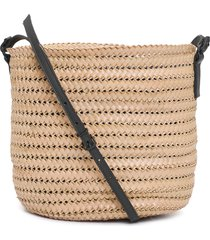 bolsa feminina mini bucket palha - bege