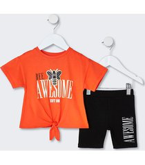 river island mini girls orange tie front t-shirt outfit