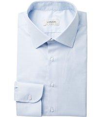 camicia da uomo su misura, grandi & rubinelli, natural stretch azzurra pied de poule, quattro stagioni | lanieri