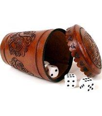 #461 dice & top grain shuffle & cap tooled leather set casino bar games gambling
