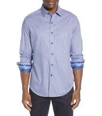 men's robert graham hearst regular fit sport shirt, size x-large - blue