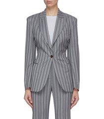 pinstripe cinched waist blazer