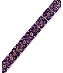 amethyst two-row bracelet in 14k rose gold over sterling silver (14-1/10 ct. t.w.)