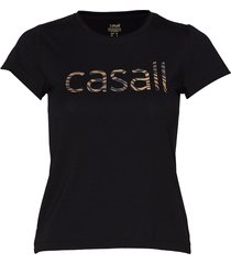 heritage logo tee t-shirts & tops short-sleeved svart casall