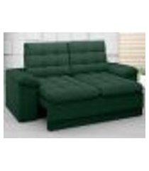 sofá confort 1,80m assento retrátil e reclinável velosuede verde - netsofas