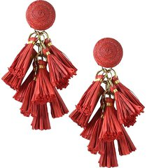akola women's goldtone & raffia tassel drop earrings