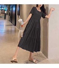 zanzea las mujeres del verano de manga corta camiseta vestido de cuello cuadrado sin respaldo midi vestido más del tamaño -negro