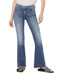 women's mother frayed flare jeans, size 33 - blue