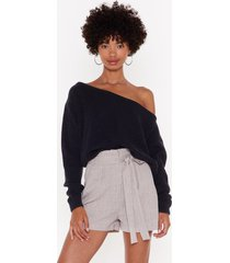 womens something's off-the-shoulder knit sweater - black