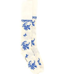 simone rocha floral print knee-high socks - neutrals