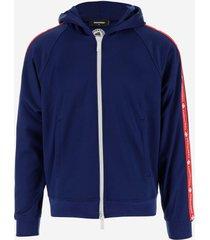 dsquared2 designer sweatshirts, deep blue front zip men's sweatshirt