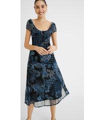 long flared print dress - blue - xxl