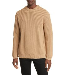 men's bottega veneta crewneck cable mouline wool sweater