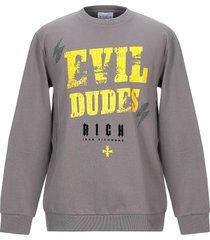 john richmond designer sweatshirts, mud gray and yellow print cotton men's sweater