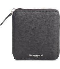 maison kitsuné color block square zipped wallet