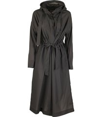 herno long jacket with hood and belt