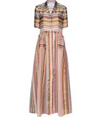 rosie assoulin striped maxi shirt dress - green