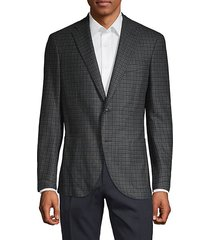 plaid wool & silk blend sport jacket