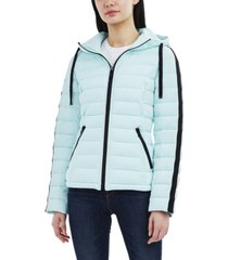 nautica hooded water-resistant stretch packable coat