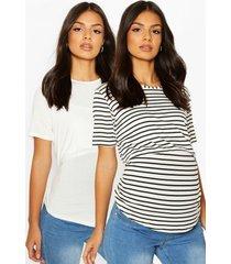 zwangerschap borstvoeding t-shirts (2 stuks), white