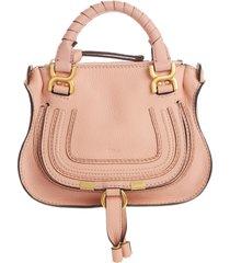 chloe mini marcie leather crossbody bag - pink