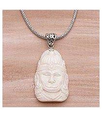 sterling silver and bone pendant necklace, 'supreme hanuman' (indonesia)