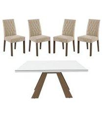 kit madesa mesa 5382 + 4 cadeiras 4254 marrom