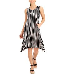 anne klein striped asymmetrical-hem tank dress