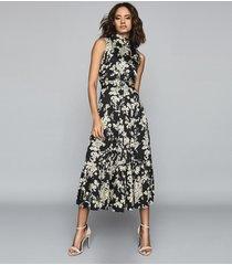reiss briella - floral printed midi dress in black, womens, size 14