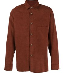 a kind of guise corduroy long sleeved shirt - brown