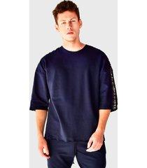 camiseta oversized em moletinho brohood manga curta azul marinho - azul/azul marinho - masculino - algodã£o - dafiti