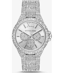 mk orologio oversize camille tonalità argento con pavé - argento (argento) - michael kors