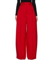 full-length sanded cotton wide leg pants