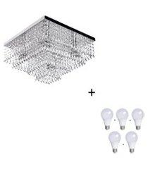 lustre de cristal acrilico dreamcrillic 40x40 com lâmpadas 6