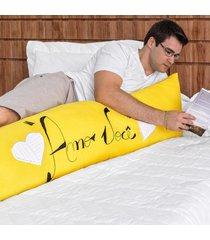 capa travesseiro corporal bordado 1,35m x 45cm 100% algodã£o amarelo - amarelo - dafiti