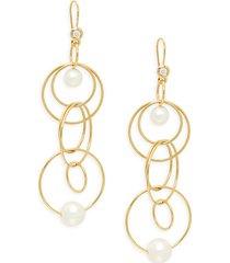 nova 18k yellow gold, 5-8mm pearl & diamond drop earrings