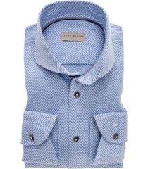 john miller overhemd blauw dessin slim fit