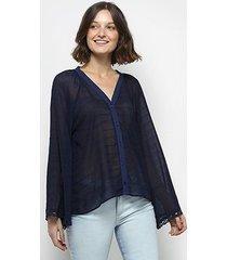 camisa colcci transparência manga sino bordada feminina