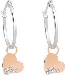 orecchini a cerchio con charm cuore in acciaio bicolore e strass per donna