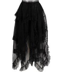 act n°1 draped tulle skirt - black