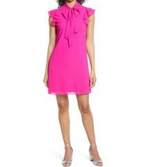 women's vince camuto tie neck chiffon shift dress, size 12 - pink