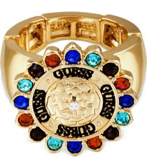 guess gold-tone crystal & rose logo stretch ring